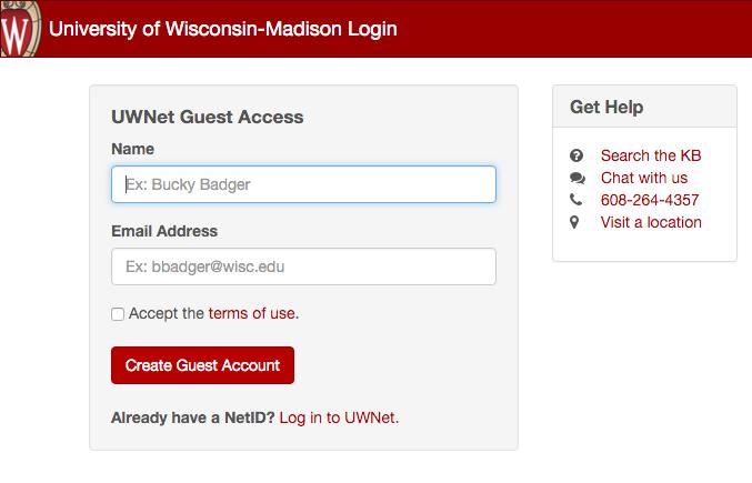 Campus wireless information showing guest login