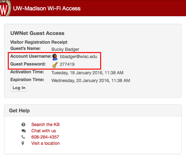 Campus wireless information showing guest access information